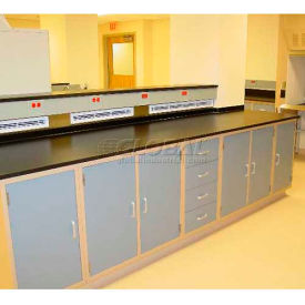 "Lab Design Workbench 16'4""W X 30""D X 3'-3/4""H, Navy Blue"
