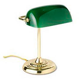 """Traditional Banker's Lamp, 14"""" High, Green Glass Shade, Brass Base"""