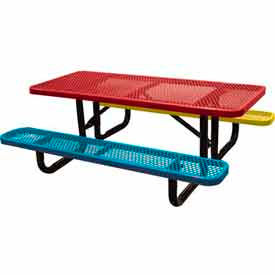 6' Child's Picnic Table, Expanded Metal, In-Ground Mount, Multi Colors