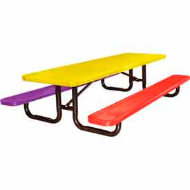 8' Child's Picnic Table, Expanded Metal, In-Ground Mount, Multi Colors