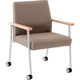 Mystic Guest Chair w/ Casters, 400 lb. Cap. Natural Arm Cap Fandango Ebony