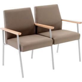 Mystic 2 Seat Sofa w/ Center Arm, Natural Arm Cap Fandango Ebony