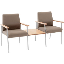 Mystic 2 Chairs w/ Center Table, Natural Arm Cap Fandango Ebony