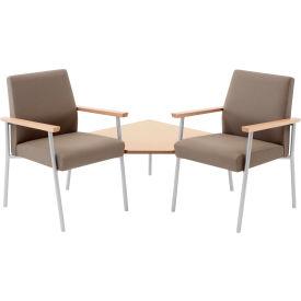 Mystic 2 Chairs w/ Corner Table, Walnut Arm Cap Kilkenny Tweed Stone