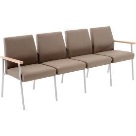Mystic 4 Seat Sofa, Walnut Arm Cap Kilkenny Tweed Stone