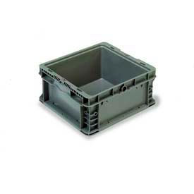 "ORBIS Stakpak NXO1215-7 Modular Straight Wall Container, 12""L x 15""W x 7-1/2""H, Gray"