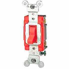 Leviton 1221-2R Single-Pole AC Quiet Switch, 20 Amp 120/277 V, Red
