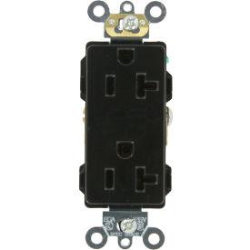 Leviton 16362-E 20a, 125v, Decora Plus Duplex Receptacle, Self Grounding, Black - Min Qty 13