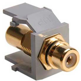 Leviton 40830-BGE QuickPort RCA Gold-Plated Connector with Black Stripe, Grey