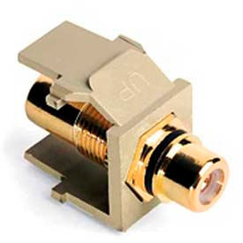 Leviton 40830-BIE QuickPort RCA Gold-Plated Connector with Black Stripe, Ivory