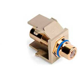Leviton 40830-BIL QuickPort RCA Gold Plated Connector with Blue Stripe, Ivory