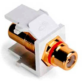 Leviton 40830-BWR QuickPort Rca, Gold-Plated Connector with Red Stripe
