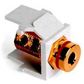 Leviton 40837-BWR QuickPort Banana Jack Adapter, Gold-Plated with Red Stripe