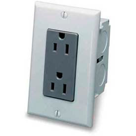 Leviton 47605-Acn J-Box Kit Duplex Receptacle, Gray - Min Qty 10