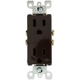 Leviton 5325 15A, 125V, Decora Duplex Receptacle, Residential Grade, Grounding, Brown