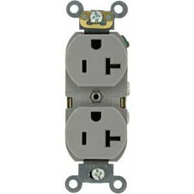 Leviton 5362-Gy  Duplex Receptacle, Straight Blade, Gray - Min Qty 20
