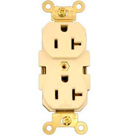 Leviton 5362-SI Duplex Receptacle, Straight Blade, Contractor Pack, Ivory