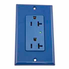 Leviton 5380-B Decora Duplex Surge Suppressor Receptacle Iso Ground, 20a, Blue - Min Qty 4