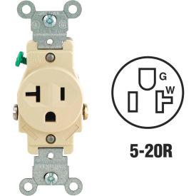 Leviton 5801-I 20A, 125V, NEMA 5-20R, 2P, 3W, Single Recpt., Grounding, Ivory