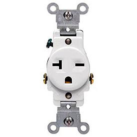 Leviton 5821-W 20A, 250V, NEMA 6-20R, 2P, 3W, Single Recpt., Grounding, White