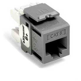 Leviton 61110-Rg6 Extreme 6+ Quickport Connector, Cat 6, Grey - Min Qty 13