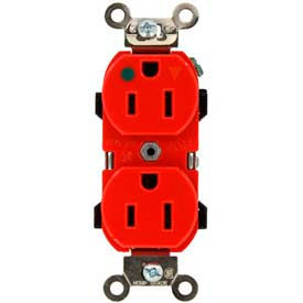 Leviton 8200-Igr 15a, 125v, Narrow Body Duplex Receptacle, Red - Min Qty 10