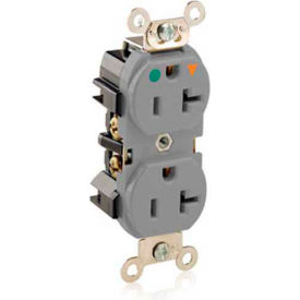 Leviton 8300-Igg 20a, 125v, 2p, 3w,Duplex Rcpt, Str. Blade, Isolated Ground, Gray - Min Qty 9