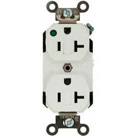 Leviton 8300-Plw 20a, 125v, Duplex Receptacle, Self Grounding, White - Min Qty 8