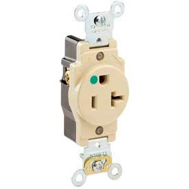 Leviton 8310-I 20a, 125v, Single Receptacle, Ivory - Min Qty 13