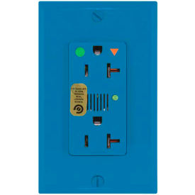 Leviton 8380-Igb Decora Dplx Surge Prot Recpt, Iso Grd, Ind Lht & Alarm 20a, Blue - Min Qty 4