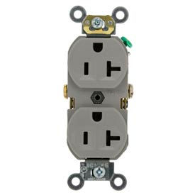 Leviton BR20-GY 20A, 125V, Duplex Receptacle, Self Grounding, Gray