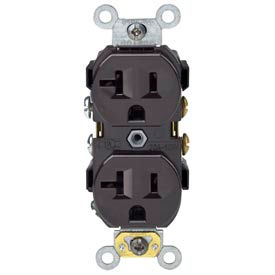 Leviton BR20 20A, 125V, Duplex Receptacle, Self Grounding, Brown