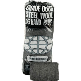 Industrial-Quality Steel Wool Hand Pads #4 Extra Coarse, 16/Pack 12/Case - GMA117007