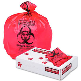 "Health Care ""Biohazard"" Printed Waste Liners, 1.3 mil, 24"" x 32"", Red, 250/Carton"