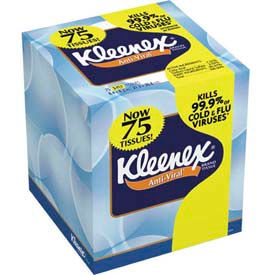 Kleenex Anti-Viral 3-Ply Facial Tissue Pop-Up Box, 68 Sheets/Box 27/Case - KIM25836CT