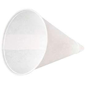 Konie KCI 4.0KR - Rolled-Rim Paper Cone Cups, 4 Oz., White, 5,000 Qty.