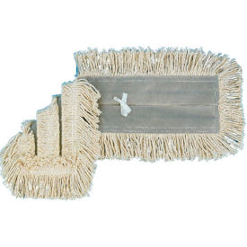 """36"""" x 5"""" Disposable Cotton/Synthetic Dust Mop Head W/ Sewn Center Fringe, White - BWK1636"""