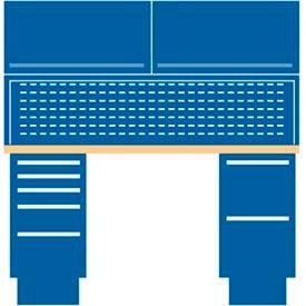 60x30x64.75 (2) Cabinet workstation w/7 drawers, stat. riser shelf, 2 ovhd cabs/butcher block top