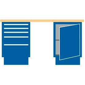 60x30x35.25 (2) Cabinet workbench w/5 drawers/galvanized steel top