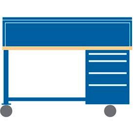 72x30x50.75 Cabinet & Leg mobile workbench w/4 drawers, stat. riser shelf/wood & pressed wood top