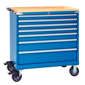 "Lista® 7 Drawer 40-1/4"" Shallow Depth Mobile Cabinet w/Butcher Top-Blue, Master Keyed"