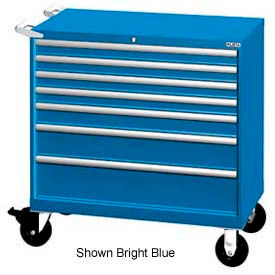 "Lista 40-1/4""W Mobile Cabinet, 7 Drawers, 94 Compart - Bright Blue, No Lock"