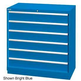"Lista 40-1/4""W Drawer Cabinet, 6 Drawer, 72 Compart - Bright Blue, Master Keyed"