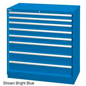 "Lista 40-1/4""W Drawer Cabinet, 8 Drawer, 117 Compart - Bright Blue, Individual Lock"
