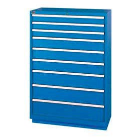 "Lista® 9 Drawer Shallow Depth, 59-1/2""H - Blue, No Lock"