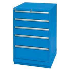 Lista® 5 Drawer Standard Width Cabinet - Blue, Keyed Alike