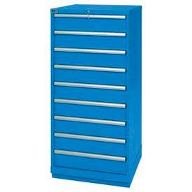 "Lista® 9 Drawer Standard Width Cabinet 59-1/2"" H - Bright Blue, Keyed Alike"