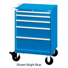 """Lista 28-1/4""""W Mobile Cabinet, 5 Drawers, 44 Compart - Classic Blue, No Lock"""