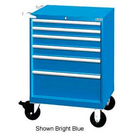 """Lista 28-1/4""""W Mobile Cabinet, 6 Drawer, 58 Compart - Bright Blue, Individual Lock"""
