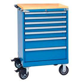 "Lista® 7 Drawer 24""W Shallow Depth Mobile Cabinet w/Butcher Block Top-Blue, No Lock"